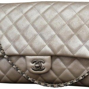 Chanel Silver Quilted Leather Classic Flap Jumbo